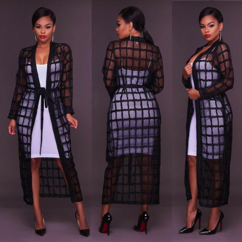 Women's Fashion Perspective Jackets Long Sleeve Long Maxi Plaid Checked Cardigan Kimono Jacket Top