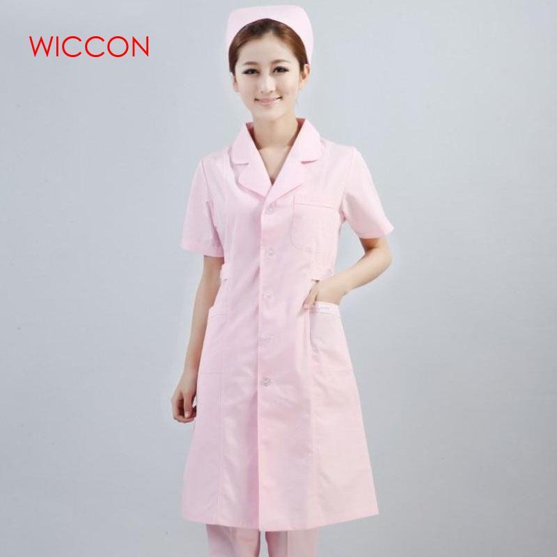WICCON 2020 Women Solid Short Sleeve Long Doctor Work Coats Hospital Medical Manicurist Dental Scrubs Nurse Beauty Salon Uniform