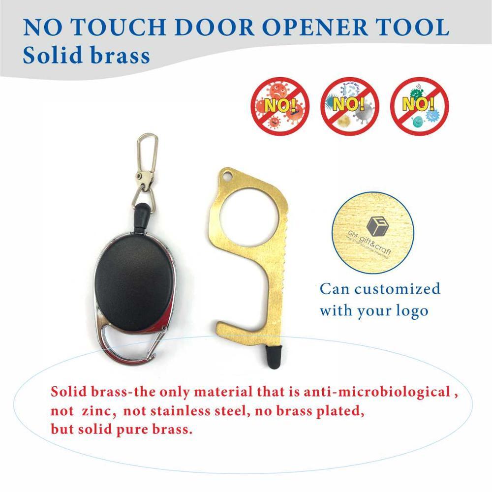 No Touch Door Opener Contactless Safety Door Assistant Elevator Protection Brass Keychain And Door Opener Handle Tool