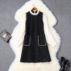 Image 1 - Lüks tasarım kısa parti elbise 2019 yeni sonbahar kadın rahat tarzı ofis bayan tam kollu boncuk elbise Mini ünlüler elbiseler