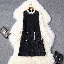 Luksusowy design krótka sukienka 2019 nowa jesienna damska Casual style Office Lady z pełnym rękawem koraliki sukienka Mini sukienki gwiazd