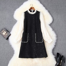 Luxury Design short Party Dress 2019 new autumn Women Casual style Office Lady Full sleeved beads dress Mini celebrities dresses