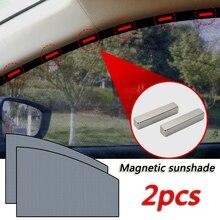 2pcs Car Window Sunshade Cover Magnetic Adsorption UV Protector Auto Front Rear Window Mesh Curtain Sun Shade