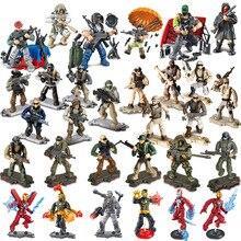 Blocs de construction figurines de ville SWAT, méga moderne, bataille, soldat, Police, armes de larmée, jouets daction, cadeau