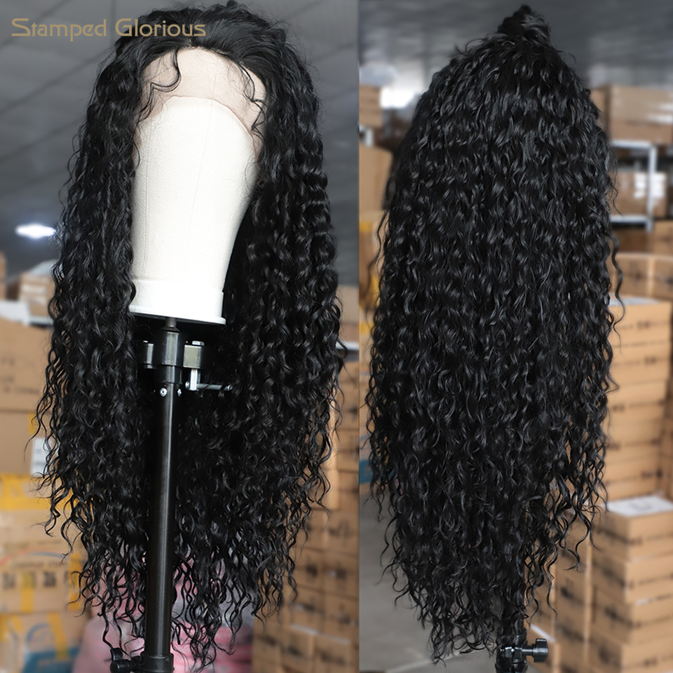 Stamped Glorious Black Long Curly Lace Front Wigs With Baby Hair Long Kinkys Curly Wig Synthetic Curly Long Wigs