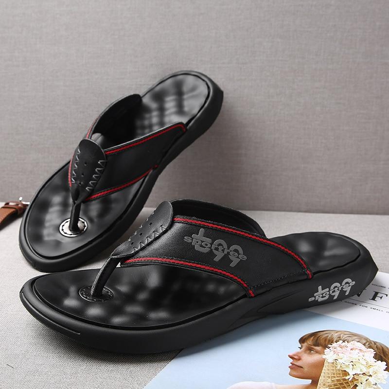 Hoge Kwaliteit Echt Leer Mannen Slippers Flip Flops Mannen Slides Fashion Casual Flip Flop Slippers Zomer Strand Slippers