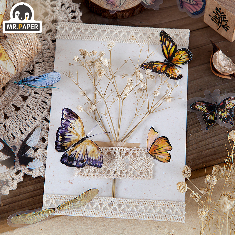 Mr.paper 8 Designs 40Pcs/lot Butterfly Deco Stickers Scrapbooking Bullet Journal Toy Plants Deco Album DIY Stationery Stickers 5