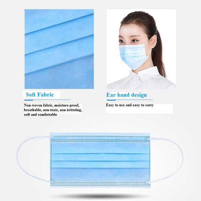 50pcs In stock Medical Surgical Disposable Mask Protective Anti Dust Fog Bacteria Flu Proof Non-woven Three-layer Mounth Masks 3