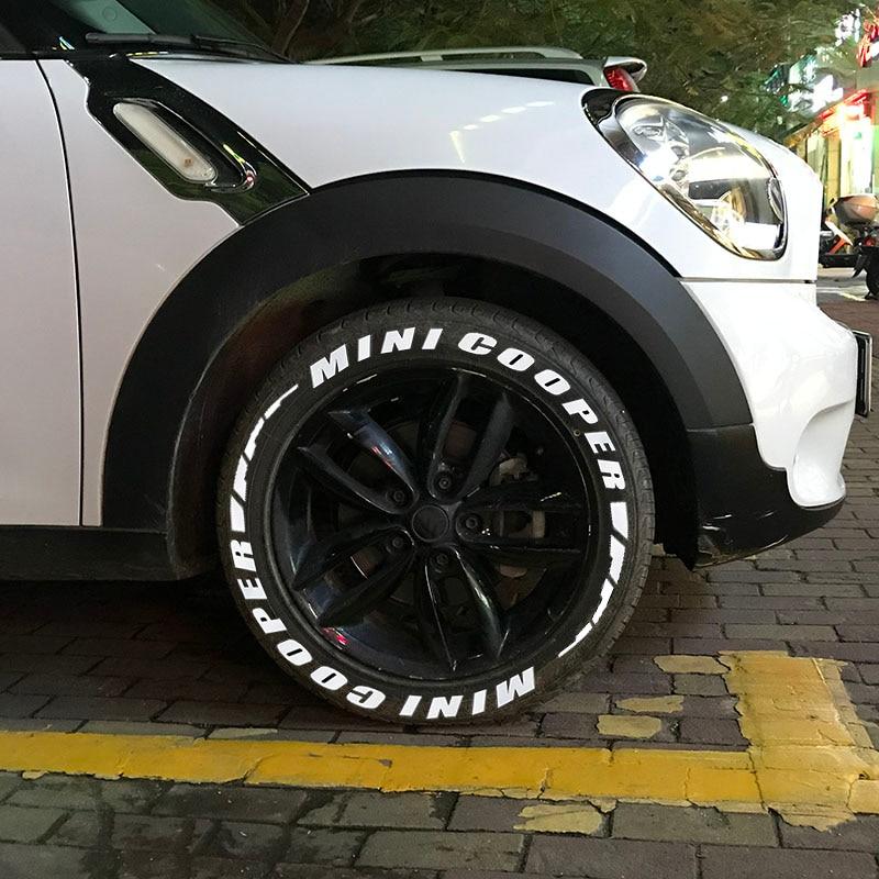 3D en caoutchouc Auto voiture autocollants 3D pneu Letterings PVC roue autocollant pour moto universel voiture Tuning décalcomanies Logo pour MINI COOPER