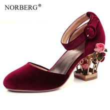 NORBERG ankle strap buckle wedding shoes women bird cage flower heel women's genuine leather shoes pumps velvet mary janes size summer mary janes bling multi gem rhinestone studs metal cage heel satin women ankle strap bridal crystal wedding pumps shoes
