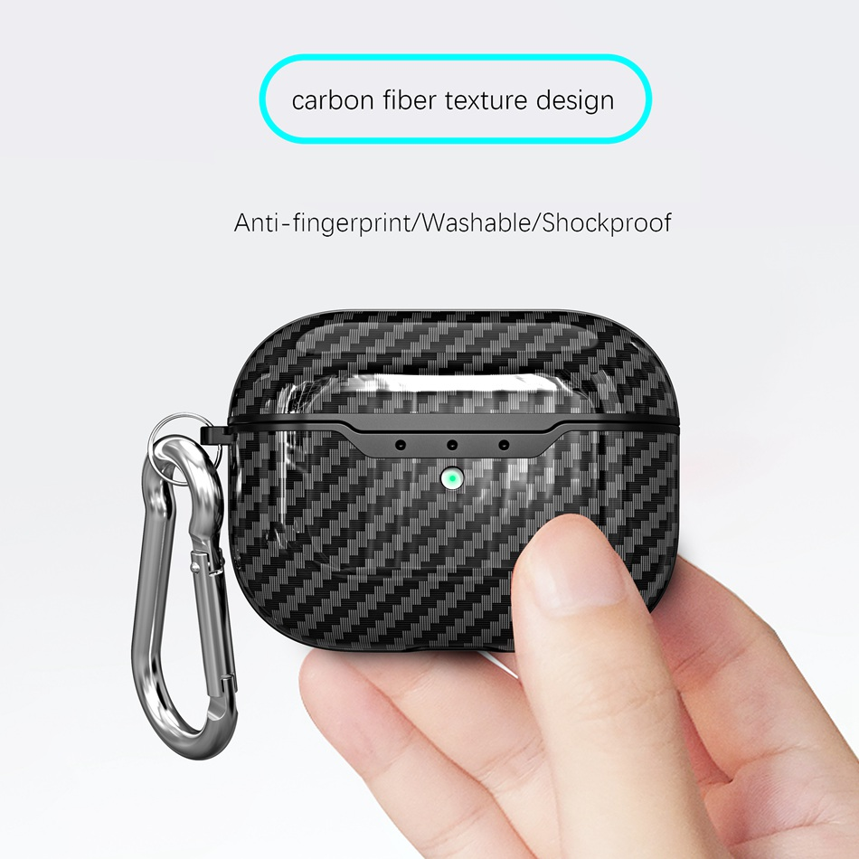 For AirPods Pro Case Luxury Carbon Fiber Earphone Cover For AirPods Pro 3 Ultra Slim Shockproof Protect Case With Carabine Hook