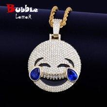 Gülmek Cry yüz kolye kolye zinciri altın rengi mavi kübik zirkon erkek Hip hop kaya takı