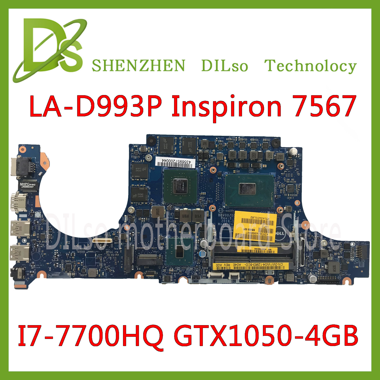 KEFU LA-D993P Motherboard For DELL Inspiron 15 7567 Motherboard I7-7700HQ GTX1050 4GB BBV00/10 LA-D993P  CN-0JG23N Test 100%