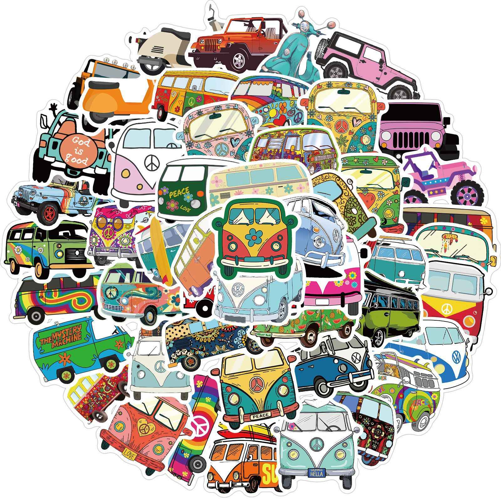 10/30/50Pcs Retro Hippies Stickers Liefde En Vrede Bus Stickers Voor Auto Laptop Bagage Skateboards Dagboek briefpapier Decal Sticker