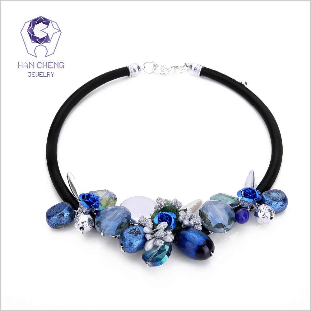 HanCheng Fashion Rope Bohemian Flower Beads Gem Created Crystal Choker Necklace Women Necklaces Statement Collar jewelry bijoux