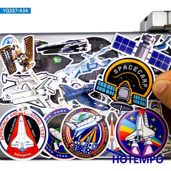 34pcs Space Shuttle Ship Satellite Aircraft Style Stickers Toys for Kids DIY Stationery Phone Laptop Suitcase Pad Decals Sticker - discount item  30% OFF Classic Toys
