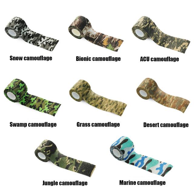 Taśma maskująca myśliwska Outdoor Camo Gun polowanie wodoodporna kamuflaż kempingowy taśma maskująca kamuflaż naklejki rowerowe tanie i dobre opinie WoSporT Unisex Camouflage Stealth Tape Pocket Multi Tools Multi-functional Camo Tape Polyester Non-woven Fabric 5cm x 4 5m (after-stretch)