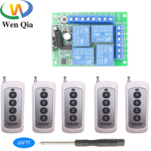 433Mhz Universal Wireless Remote Control RF Switch DC 12V 4CH Relay Receiver Module for Electric curtain and garage door Control