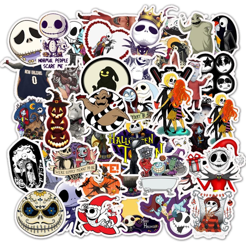 50 PCS Pack Halloween Horror Sticker Waterproof For Suitcase DIY Laptop Guitar Skateboard Cartoon Stickers
