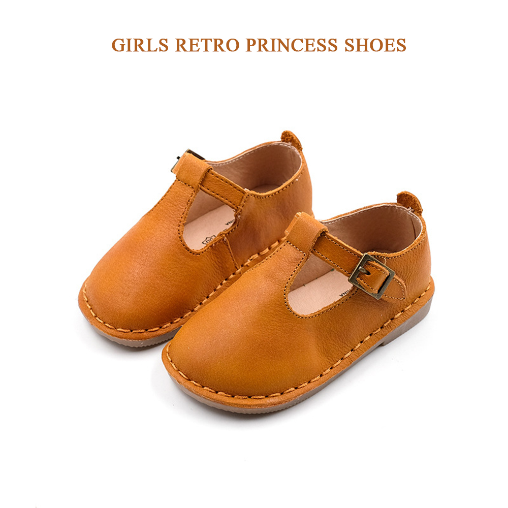 Spring new retro girls leather shoes genuine oil wax princess single matte flat small