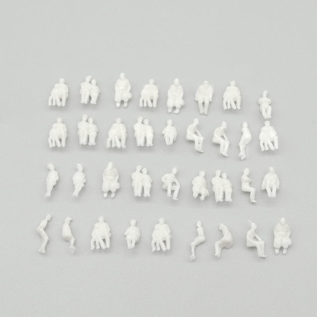 sitting figure seated miniature white people Architectural model human scale ABS plastic peoples 4
