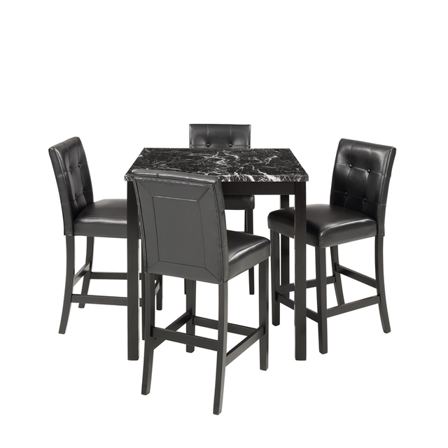 5 Piece Dining Room Set with Laminated Faux Marble Top 5