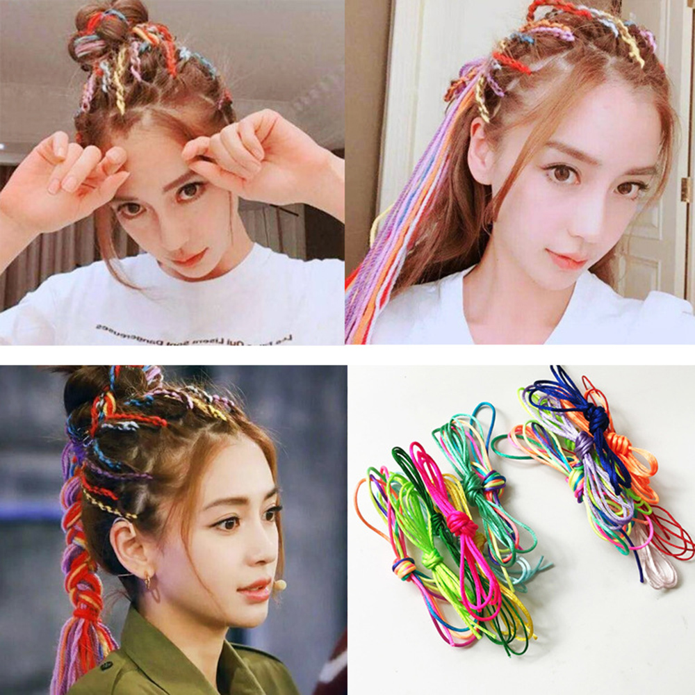1 Set Girl Colorful Hair Braids Hair Extension Styling Tool Wig Ponytail Glitter Braid Kids Hairpin Bridal Hair Accessories