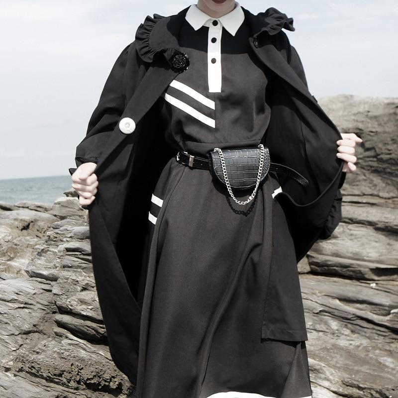 New Fashion Style Black Striped Split Joint Temperament Dress Fashion Nova Clothing