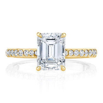 14K  Gold Moissanite Solitaire Emerald Cut Engagement Ring  4