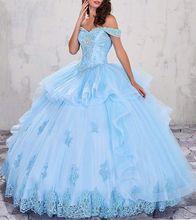 Fora Do Ombro Vestidos Quinceanera Frisado Applique Vestidos de Baile vestidos de 15 años Ruched Em Camadas de Organza vestido de debutante