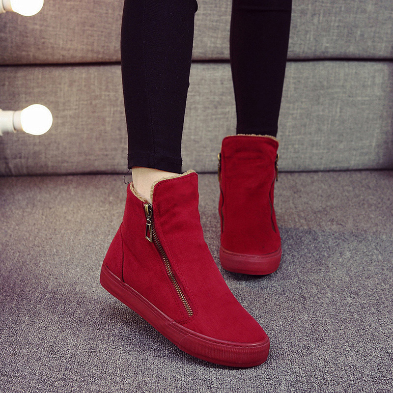 2019 winter new high help plus velvet warm flat bottom suede casual cotton boots women 41