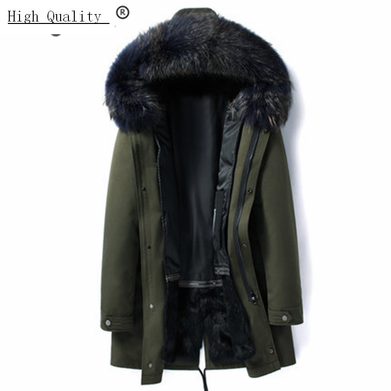 Winter Jacket Men Clothes 2020 Thick Warm Rabbit Fur Liner Long Parka Hombre Streetwear Jacket + Raccoon Fur Hooded 19006
