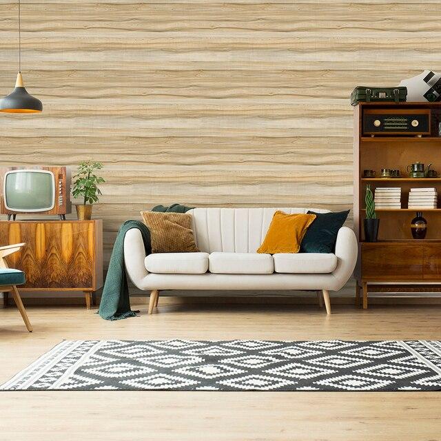 45 センチメートル * 6 メートルヴィンテージフェイク木材の壁紙ビニール自己接着壁紙 3d リビングルームのためのデスク壁の装飾