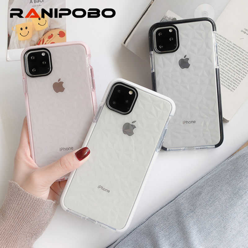 Shockproof Bumper Frame Diamond Phone Case For iPhone 11 11Pro Max XR X XS Max 8 7 6 6S Plus Soft Clear protection Back Cover