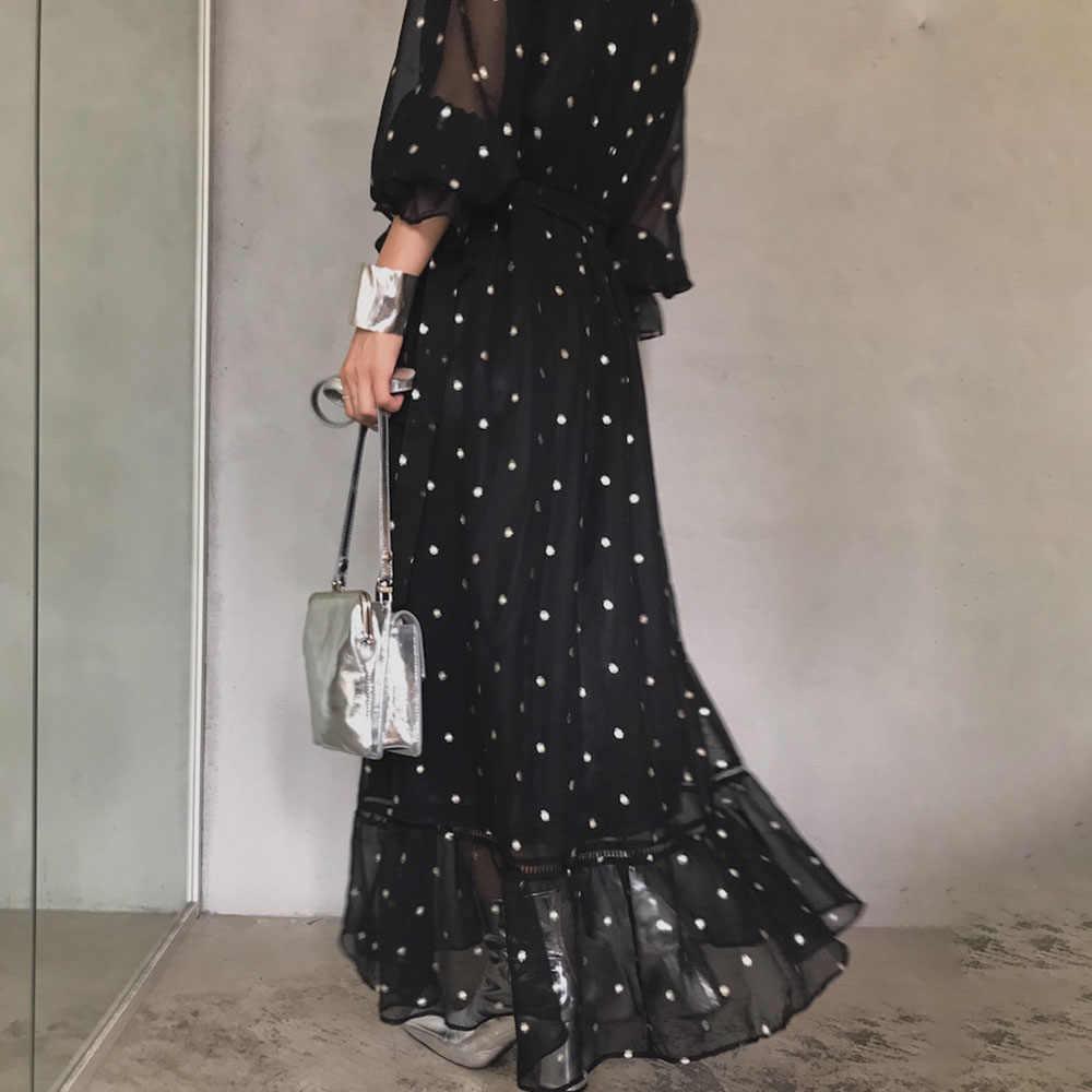 2020 polka-dot maxi kleid sommer beiläufige elegante büro damen koreanische  frauen lange kleider spitze aushöhlen hohe taille vestidos