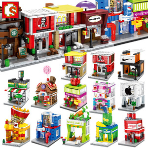 Sembo Building Block Mini City Street Store Building Bricks Chinatown Series Educational Kid Toy
