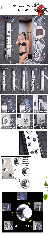 Hb8c092be2f394d1aa18b2623f86c8975m Shower Panel LED Rainfall Waterfall Shower Head Rain Massage System Body Jets & Hand Shower Stainless Steel Bathroom Shower Pane
