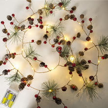 1PCS Red Berry Christmas Garland Lights LED Copper Fairy Pinecone String For Xmas Holiday Tree And Home Decoration