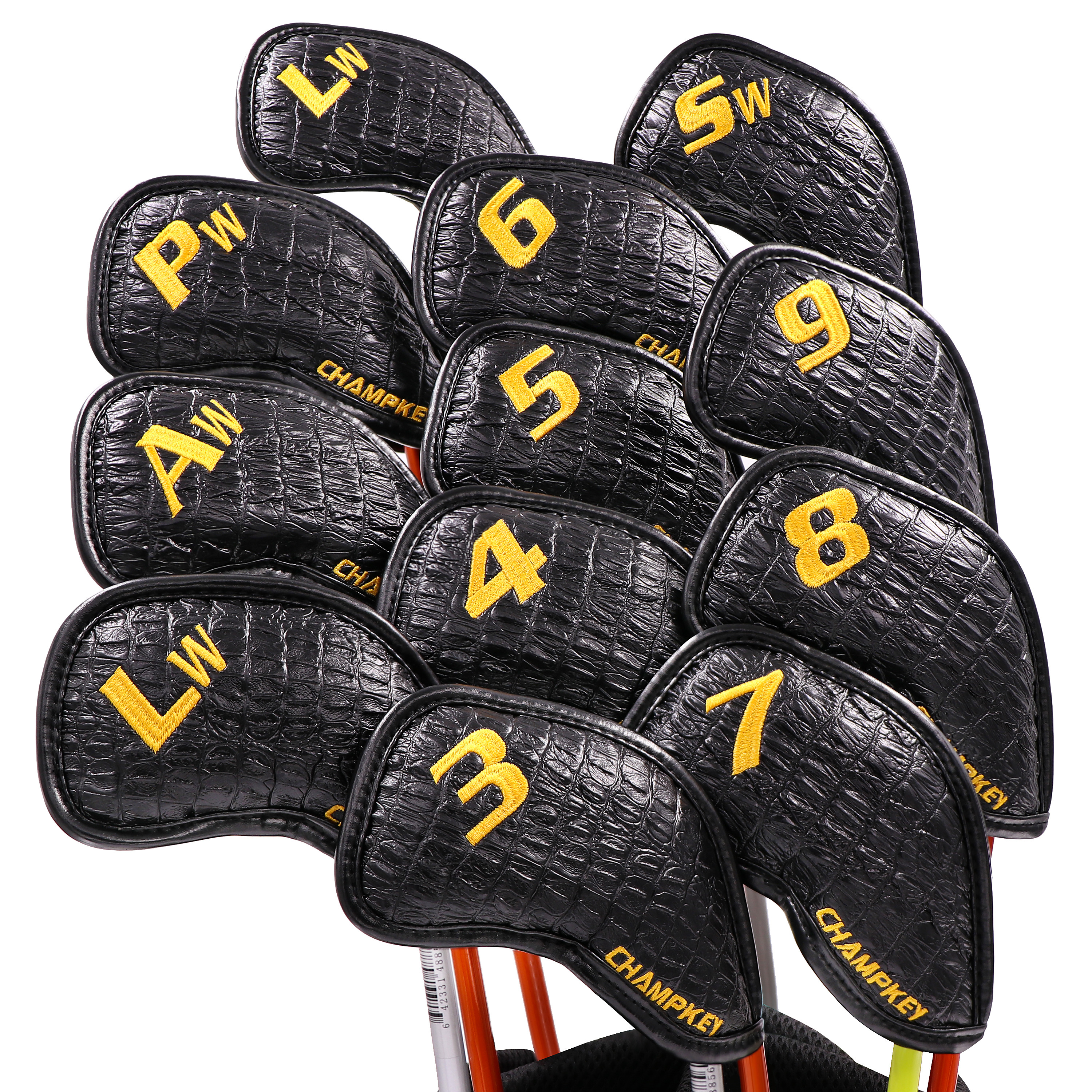 NEW Champkey Golf Club Covers Headcovers Set PU Leather 12 Pcs/Pack Fit Left Hand Right Hand Golfers Embroidery Logo Both Sides