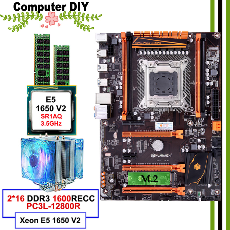 Beste verkäufer HUANANZHI deluxe X79 LGA2011 motherboard mit M.2 SSD slot mobo mit CPU Xeon <font><b>E5</b></font> <font><b>1650</b></font> <font><b>V2</b></font> mit kühler RAM 32G (2*16G) image