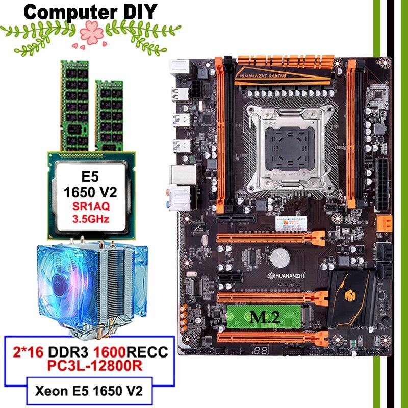 Meilleur vendeur HUANANZHI deluxe X79 LGA2011 carte mère avec M.2 SSD slot mobo avec CPU Xeon E5 1650 V2 avec RAM refroidisseur 32G (2*16G)
