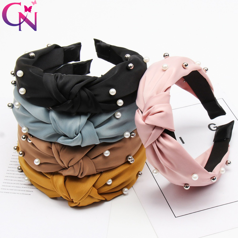 2019 Knot Pearls Headbands For Women Girls Handmade Wide Solid Silk Fabric Twist Hairband Bezel Hair Hoop Hair Accessories 1