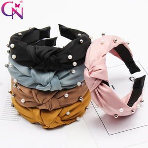 2019 Knot Pearls Headbands For Women Girls Handmade Wide Solid Silk Fabric Twist Hairband Bezel Hair Hoop Hair Accessories(China)