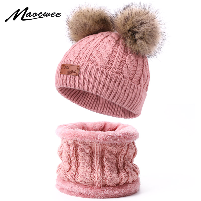Two Pieces Hat Scarf Set Beanie Cap Children's Hats Girls Caps Fake Ball Pompon  Keep Warm Winter Knitted Skullies Kids Bone