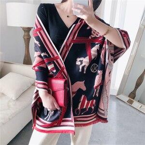Image 1 - Kaszmirowy szalik zimowy kobiety ciepły gruby Pashmina modny nadruk szale końskie okłady pani miękkie Blanked szaliki chustka