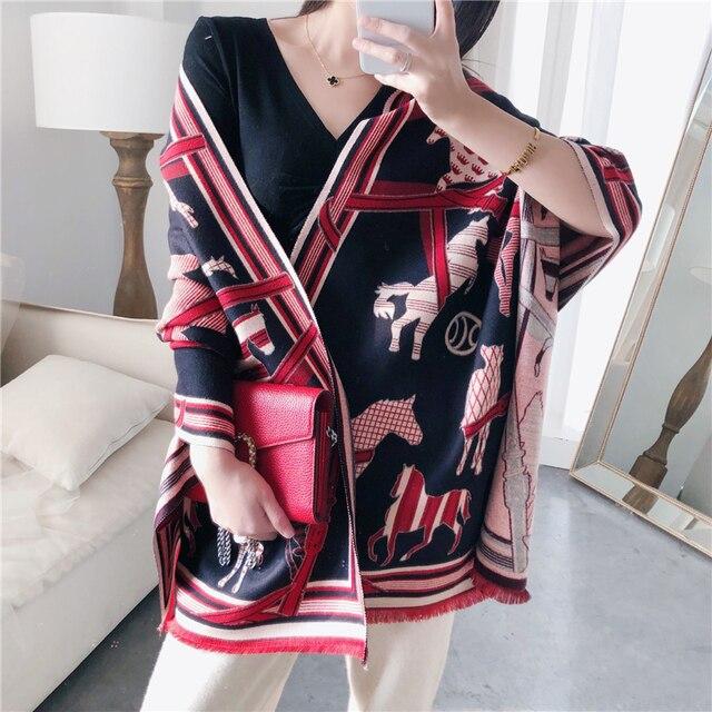 Kaszmirowy szalik zimowy kobiety ciepły gruby Pashmina modny nadruk szale końskie okłady pani miękkie Blanked szaliki chustka