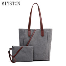 New 2Pcs Women Bag Set Quality Canvas Handbag Casual Purse Shoulder Bag Tote Messenger Purse Bag Shopping Beach Bolsa Feminina 2017 new fashion lady capacity shopping handbag shoulder canvas bag tote purse high quality women s messenger bag dropshipping