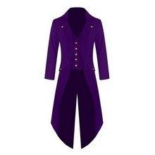 HEFLASHOR mens Coat Jacket Solid Color Steampunk Retro Tuxedo Men 2019 New Fashion