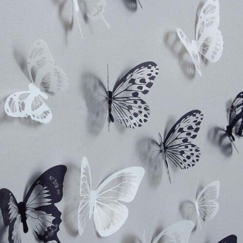 Venta caliente 18 piezas 3D negro y blanco mariposa pegatina arte pared calcomanía decoración del hogar habitación decoración para la pared
