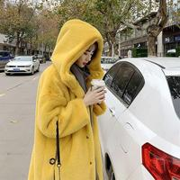 New Imitation Mink Fur Hooded Fur Coat Women High Quality Thicken Warm Long Coats With Fur Trim Hood Plus Size Solid Outwear